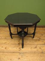 Antique Edwardian Black Painted Occasional Table, Lamp Table, Gothic Shabby Chic (5 of 13)