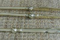 Fine Pair of Antique Georgian Brass Fire Irons Companion Set Poker Tongs (4 of 10)