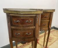 French Marquetry Bedside Tables Oval Cabinets with Marble Tops (6 of 12)