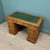 Victorian Golden Oak Antique Pedestal Desk (6 of 7)