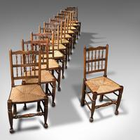 Set of 12, Antique Lancashire Chairs, Beech, Spindle Back, Seat, Edwardian, 1910 (7 of 12)