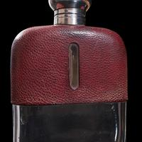 Antique Hip Flask, English, Leather, Glass, Silver Plate, Celebration Gift, 1920 (10 of 12)