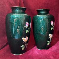 Taisho Period Pair of Japanese Cloisonne Vases (5 of 8)
