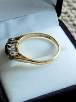 Art Deco 18ct Gold Platinum Sapphire Diamond Trilogy Ring (7 of 11)
