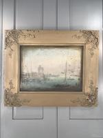 Antique Georgian or Early Victorian Landscape Oil Painting of Boats in Harbour by John Wilson Ewbank 2 of 2 (2 of 10)