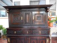 Country Oak Marquetry Inlaid Court Cupboard 1770 (8 of 10)