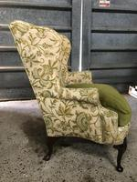 Queen Anne Style French Wing Back Chair (2 of 9)