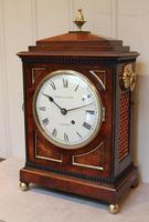 Small  Mahogany Chamfer Top Bracket Clock (3 of 10)