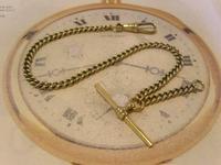 Antique Pocket Watch Chain 1890s Victorian Brass Albert With Swivel T Bar (3 of 10)