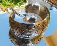 Rare Stunning Art Deco Solid Silver & 18k Gold Shield Mounted Bracelet / Bangle (7 of 8)