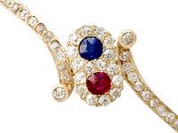 0.45ct Ruby & Sapphire, 1.50ct Diamond, 14ct Yellow Gold Bangle - Antique c.1890 (5 of 12)