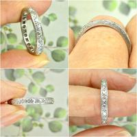 1920s Art Deco platinum diamond wedding band ~ full eternity ring 0.69ct ~ Size P 1/2 / 7.75 (8 of 9)