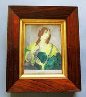 Miniature Hand Coloured Engraving of Georgian Lady in Rosewood Frame (2 of 2)