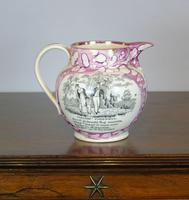 19th Century Sunderland Pink Lustre Jug Sailors Farewell (3 of 9)