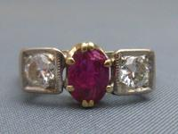 18ct Gold, 3 Stone Ruby & Diamond Ring