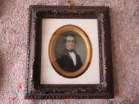 Miniature Portrait Victorian Gentleman 1880 Hand Painted (2 of 4)