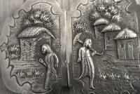 Antique Burmese Silver Belt Buckle, High Relief Repousse, Figures and a Cow c.1880 (7 of 8)