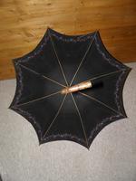 Antique Ladies Floral Black Canopy Umbrella W/Partridge Wood & Gold Plate Handle (5 of 15)