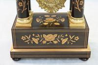 French Ebonised and Inlaid Portico Mantel Clock (6 of 10)