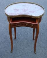 1920s Mahogany Kidney Shaped Side Table with Marble and Drawer (2 of 4)