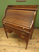 Antique Oak Roll Top Writing Desk, Tambour Front Bureau Desk (14 of 20)
