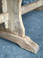 French Bleached Oak Trestle End Farmhouse Dining Table (10 of 19)
