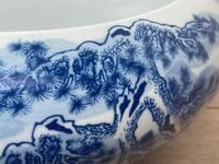 Interesting Chinese Meiping Qianlong Style Round Blue White Porcelain Bowl (8 of 26)