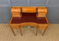Inlaid Satinwood Carlton House Desk by Jas Shoolbred (20 of 25)