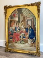 """Large Artwork Gilt Gesso Framed 19th Century Tapestry French Royal Court """"Playing Chess"""" (2 of 44)"""