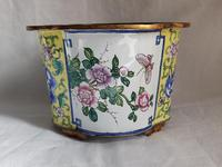 Antique Chinese Canton Enamel Planter / Pot Enamel on Copper Hand Painted (7 of 14)
