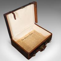Antique Suitcase, English, Leather, Salesman, Banker, Travel Case, Edwardian (9 of 12)