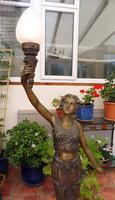 2 Bronze Art Nouveau Style Lamps (4 of 12)