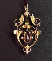 Antique Art Nouveau Pendant, 9ct Gold, Pearl & Garnet (7 of 7)