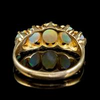Antique Victorian Opal Five Stone Ring 18ct Gold 2.20ct Of Opal c.1900 (3 of 6)