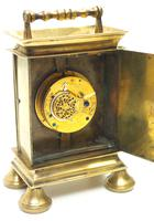 Rare Little Verge Carriage Clock Timepiece, Ormolu cased Silver Dial Mantel Clock (5 of 9)