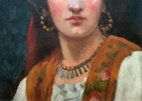 Fine Original 19th Century Antique Portrait Oil Painting of a Stunning Young Gypsy Girl (5 of 11)