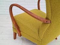 Danish Design, 1960s, Restored-reupholstered High-backed Armchair, Furniture Wool (10 of 13)