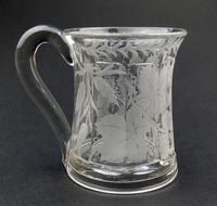 Good Engraved Glass Marriage Tankard with Vine Hops & Barley 19th Century (2 of 11)