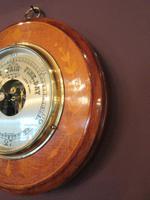 Edwardian Antique Fruitwood Inlaid Barometer (3 of 7)