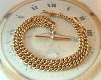 Antique Pocket Watch Chain 1890s Victorian Large 10ct Rose Rolled Gold Albert With T Bar (3 of 12)