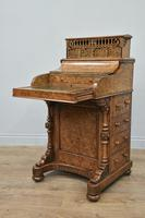 Victorian Walnut Pop Up Piano Davenport Writing Desk
