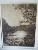 """Daisy M Norrie:  Etching """"The Lily Ponds, Barcheston"""" 1925 (2 of 4)"""