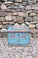 Swedish 'folk art' original blue paint box from hälsingland region, 1847. (26 of 26)
