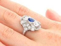 0.63ct Sapphire & 1.64ct Diamond, 18ct White Gold Dress Ring c.1935 (8 of 9)