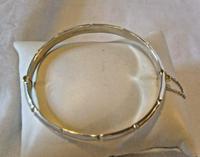 "Vintage Sterling Silver Bamboo Bangle Ornate Silver Bracelet 7 1/4"" Length (7 of 12)"