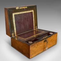 Antique Writing Slope, English, Rosewood, Leather, Pen Box, Victorian c 1880