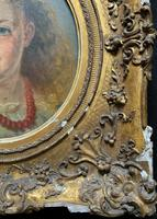 Fine Original 19th Century Circular Oil Portrait Painting of a Child for Reframing/tlc (8 of 11)