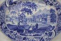 Antique Blue & White Pearlware Parkland Scenery Platter (10 of 12)