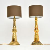1970's Pair of Vintage Brass Table Lamps