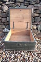 Scandinavian / Swedish 'Folk Art' original paint green/blue large table/alms/bible box raised on feet 1852 (36 of 36)